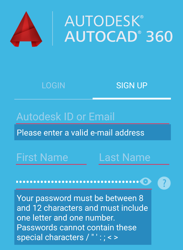 Autodesk / Autocad 360 for Android: Maximum length of 12 characters