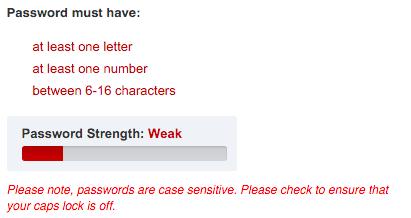 NFCU password field