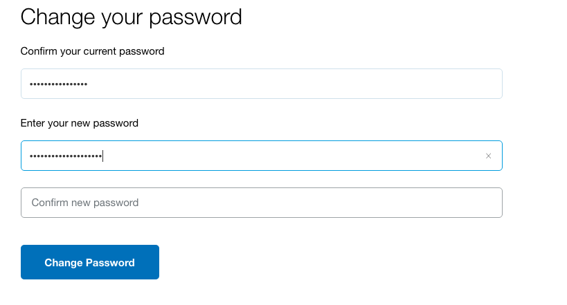 Paypal password field