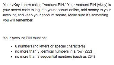 Virgin Mobile: Maximum PIN length of 6 digits