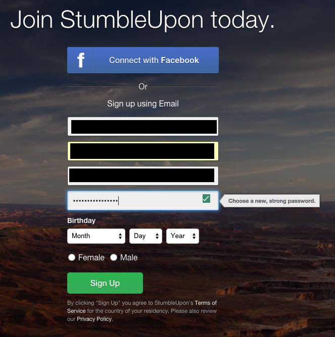 Stumbleupon password field