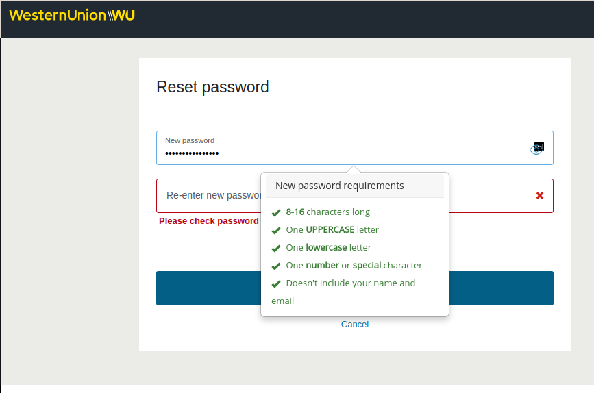 Western Union password field